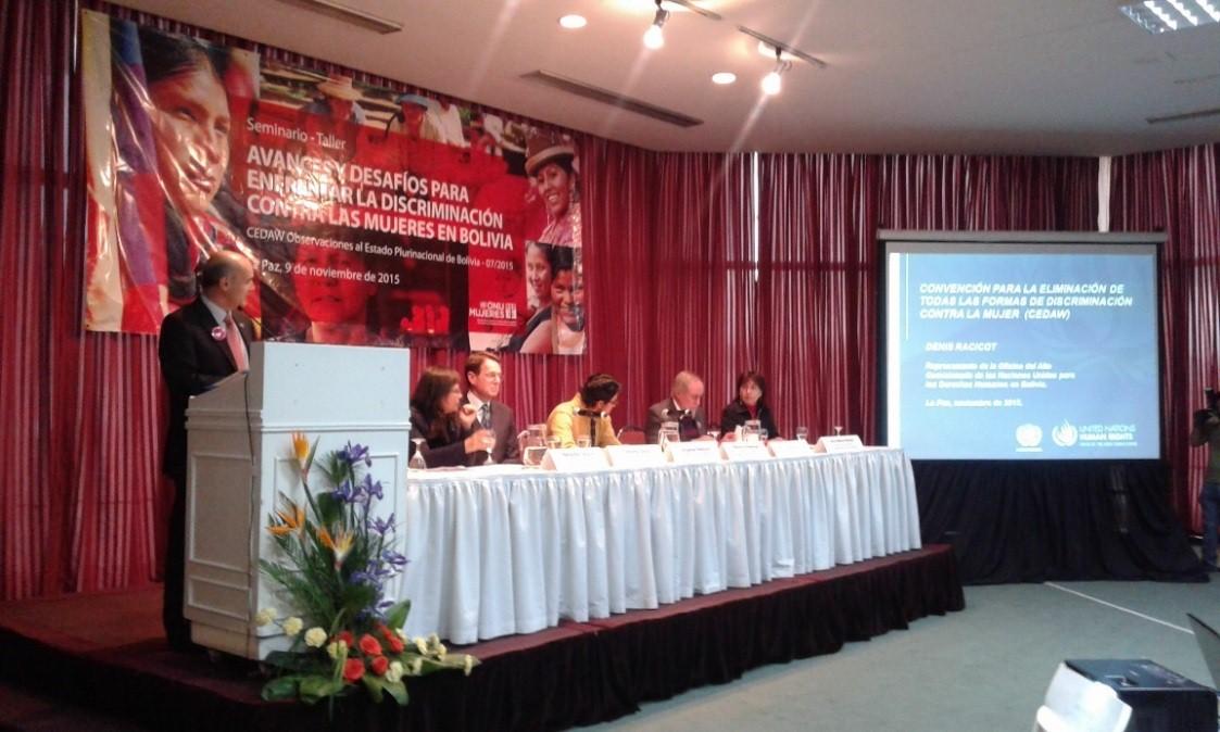 Embajada de Colombia asistió a la presentación del informe de avances y desafíos para enfrentar la violencia y discriminación contra las mujeres en Bolivia