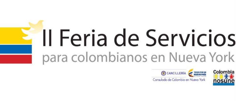 La segunda Feria de Servicios para colombianos en Nueva York, se realiza el 22 y 23 de agosto, en el 404 NYC ubicado en 404 10th Ave, New York, NY 10001 en jornada de 10:00 am a 5:00 pm. Gráfico: Cancillería.