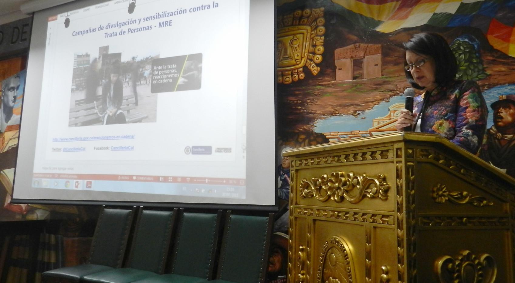 Embajadora Edith Andrade presentó las acciones y resultados de Colombia en la lucha contra la trata de personas
